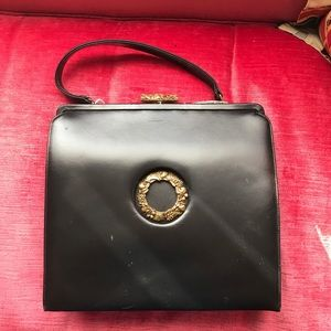 Vintage black leather with gold purse